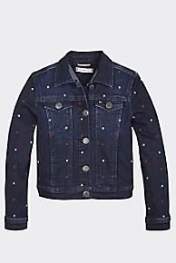 타미 힐피거 Tommy Hilfiger TH Kids Trucker Jacket,DARK BLUE STAR STRETCH