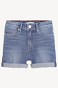 타미 힐피거 Tommy Hilfiger TH Kids High-Rise Denim Short,PINCH LIGHT BLUE