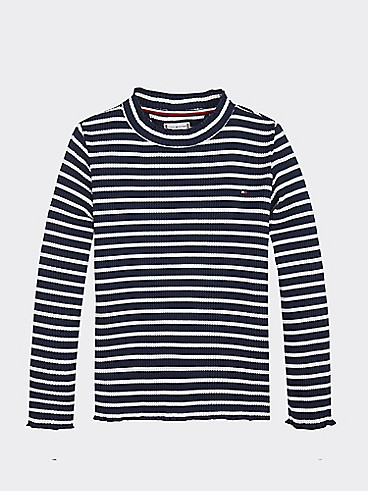 타미 힐피거 Tommy Hilfiger TH Kids Long Sleeve Rib T-shirt,BLACK IRIS/ BRIGHT WHITE
