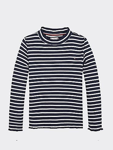 타미 힐피거 Tommy Hilfiger TH Kids Long Sleeve Rib T-shirt,BLACK IRIS/ BRIGHT WHITE