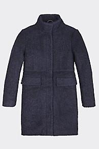 타미 힐피거 Tommy Hilfiger TH Kids Wool Coat,BLACK IRIS