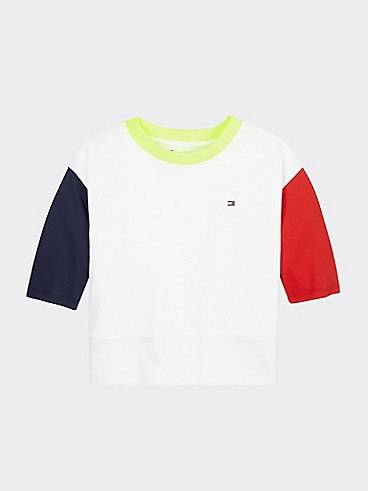 타미 힐피거 Tommy Hilfiger TH Kids Sport Colorblock T-Shirt,CLASSIC WHITE