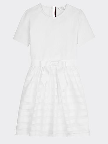 타미 힐피거 Tommy Hilfiger TH Kids Bow Combo Dress,BRIGHT WHITE
