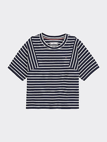 타미 힐피거 Tommy Hilfiger TH Kids Nautical Stripe Top,BLACK IRIS/ BRIGHT WHITE