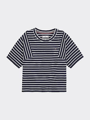 타미 힐피거 Tommy Hilfiger TH Kids Nautical Stripe Top,BLACK IRIS/ BRIGHT WHITE