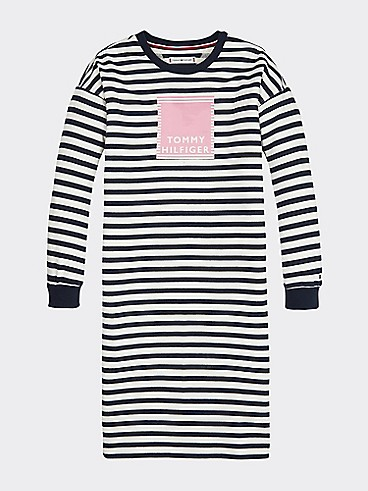 타미 힐피거 Tommy Hilfiger TH Kids Stripe Sweater Dress,BLUE STRIPE