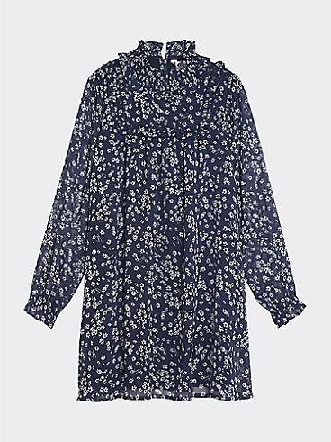 타미 힐피거 Tommy Hilfiger TH Kids Floral Dress,BLACK IRIS/ BRIGHT WHITE