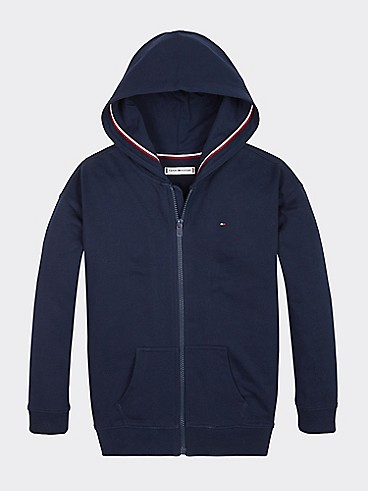 타미 힐피거 Tommy Hilfiger TH Kids Signature Zip Hoodie,BLACK IRIS
