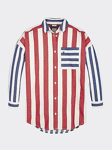 타미 힐피거 걸스 셔츠 Tommy Hilfiger TH Kids Oversize Stripe Shirt,BRIGHT WHITE/BLACK IRIS/RACING RED
