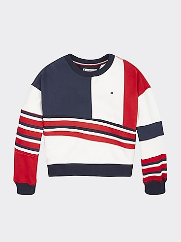 타미 힐피거 Tommy Hilfiger TH Kids Colorblock Sweatshirt,BRIGHT WHITE/BLACK IRIS/RACING RED
