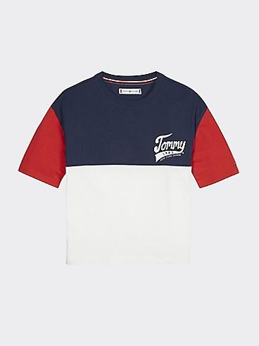 타미 힐피거 Tommy Hilfiger TH Kids Colorblock T-Shirt,BRIGHT WHITE/BLACK IRIS/RACING RED