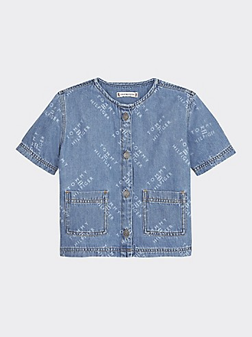 타미 힐피거 Tommy Hilfiger TH Kids Denim Top,GRITTER LIGHT RIGID