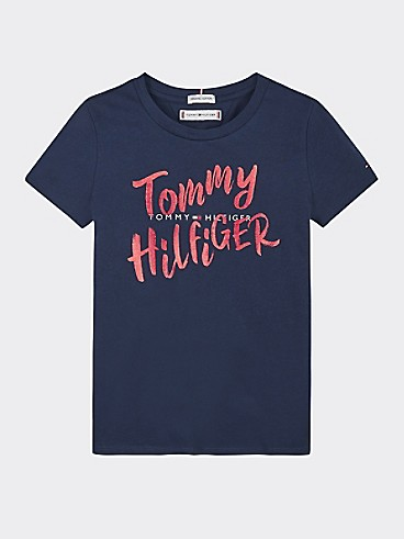 타미 힐피거 Tommy Hilfiger TH Kids Organic Cotton Tommy T-Shirt,TWILIGHT NAVY