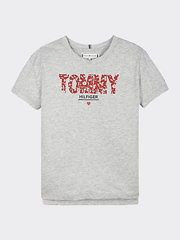 타미 힐피거 Tommy Hilfiger TH Kids Floral Tommy T-Shirt,LIGHT GREY HEATHER