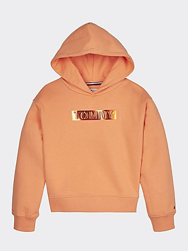 타미 힐피거 Tommy Hilfiger TH Kids Foil Logo Hoodie,MELON ORANGE
