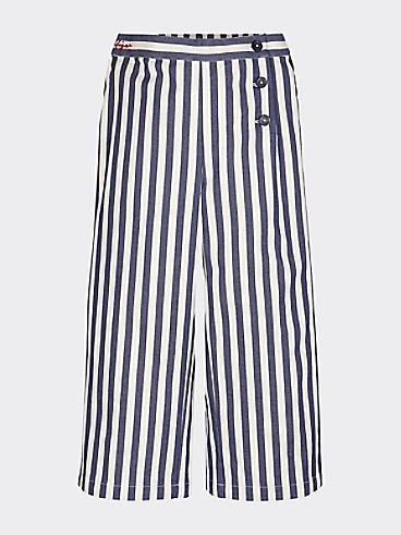 타미 힐피거 Tommy Hilfiger TH Kids Stripe Wide Leg Pant,BRIGHT WHITE/ TWILIGHT NAVY
