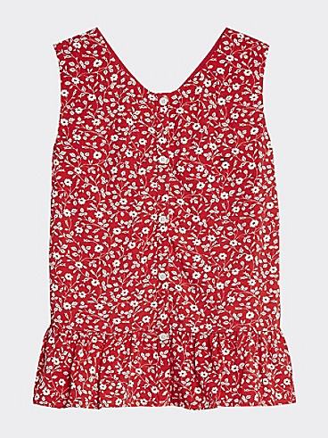 타미 힐피거 Tommy Hilfiger TH Kids Sleeveless Floral Top,DEEP CRIMSON/ FLOWER PRINT