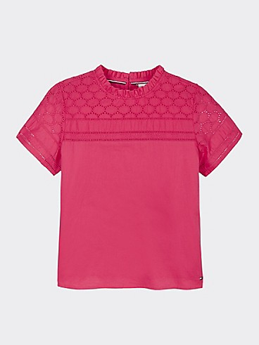 타미 힐피거 Tommy Hilfiger TH Kids Embroidered Top,Blush LUSH RED