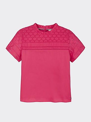 타미 힐피거 Tommy Hilfiger TH Kids Embroidered Top,Blush LUSH RED