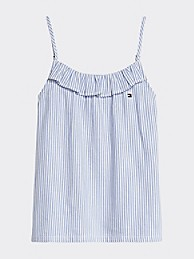 타미 힐피거 Tommy Hilfiger TH Kids Sleeveless Stripe Top,WHITE/ CALM BLUE