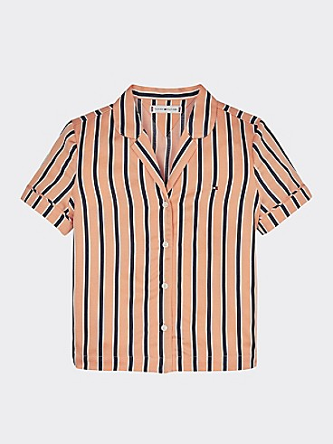 타미 힐피거 셔츠 Tommy Hilfiger TH Kids Resort Stripe Short-Sleeve Shirt,MELON ORANGE/ BLACK IRIS