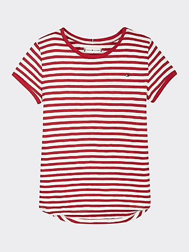 타미 힐피거 Tommy Hilfiger TH Kids Stripe T-Shirt,WHITE/ DEEP CRIMSON