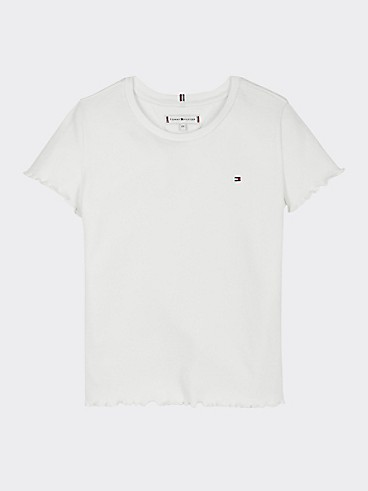 타미 힐피거 Tommy Hilfiger TH Kids Organic Cotton Knit Top,WHITE