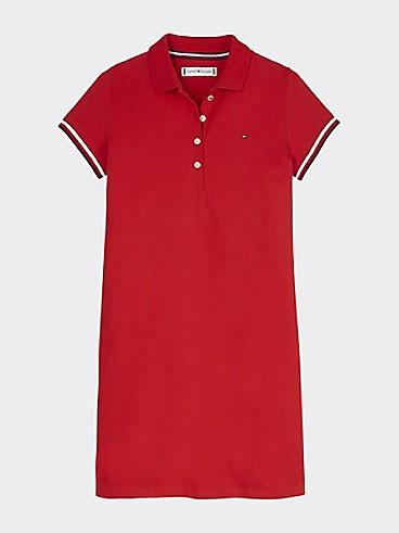 타미 힐피거 Tommy Hilfiger TH Kids Solid Polo Dress,DEEP CRIMSON