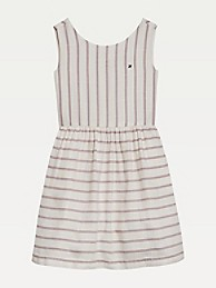 타미 힐피거 Tommy Hilfiger TH Kids Stripe Sleeveless Dress,WHITE/ MELON