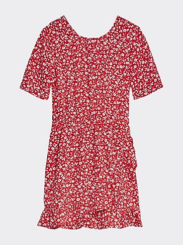 타미 힐피거 Tommy Hilfiger TH Kids Floral Dress,DEEP CRIMSON/ FLOWER PRINT