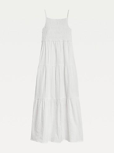 타미 힐피거 Tommy Hilfiger TH Kids Cotton Long Dress,WHITE