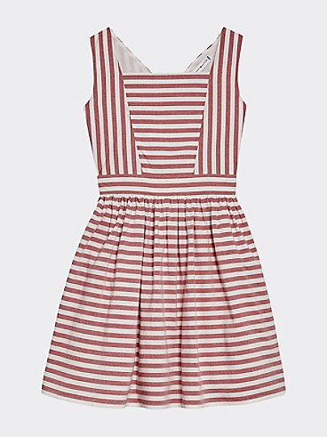 타미 힐피거 Tommy Hilfiger TH Kids Sleeveless Stripe Dress,DEEP CRIMSON/ WHITE