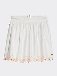 타미 힐피거 Tommy Hilfiger TH Kids Embroidered Skirt,WHITE