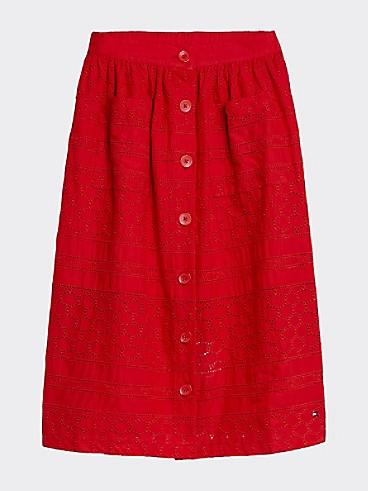 타미 힐피거 Tommy Hilfiger TH Kids Pattern Midi Skirt,DEEP CRIMSON