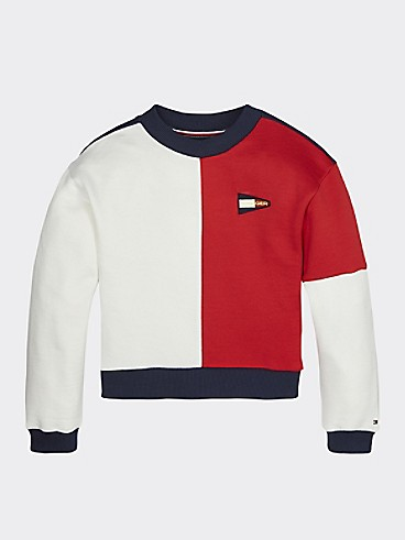 타미 힐피거 Tommy Hilfiger TH Kids Colorblock Sweatshirt,TWILIGHT NAVY/ DEEP CRIMSON