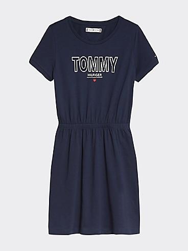 타미 힐피거 Tommy Hilfiger TH Kids Organic Cotton Dress,TWILIGHT NAVY