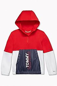 타미 힐피거 Tommy Hilfiger TH Kids Sport Colorblock Popover Jacket,HAUTE RED