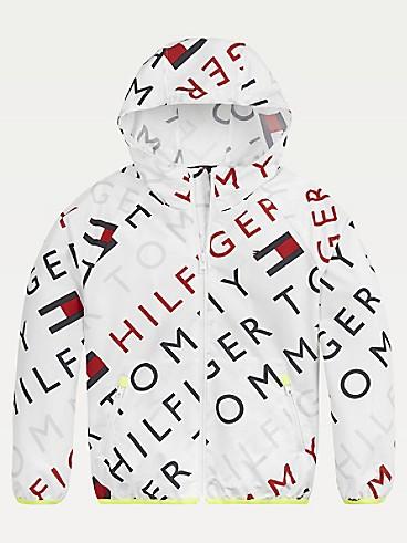 타미 힐피거 Tommy Hilfiger TH Kids Sport Printed Windbreaker,WHITE