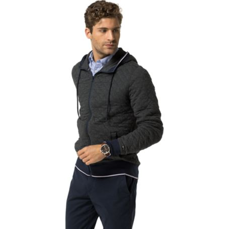 Tommy Hilfiger Quilted Fleece Hoodie - Charcoal Heather - M
