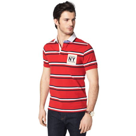 Tommy Hilfiger Slim Fit Ny Stripe Polo - Mars Red/ Midnight / Classic White - L