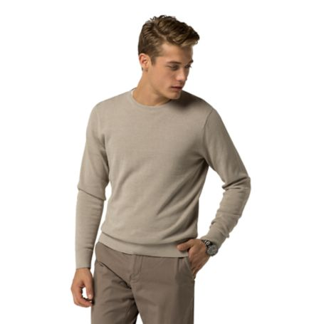 Tommy Hilfiger Cotton And Linen Crewneck Sweater - Dove Heather - Xl