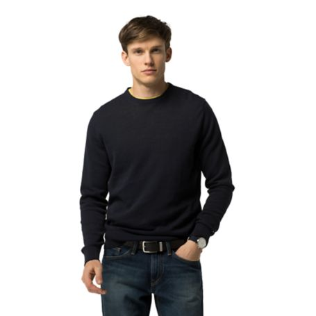 Tommy Hilfiger Final Sale-Cotton And Linen Crewneck Sweater - Midnight Heather - Xl