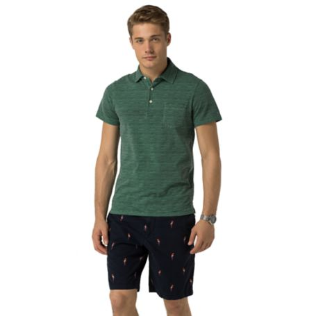 Tommy Hilfiger Slim Fit Stripe Print Polo - Golf Green / Midnight - Xxl