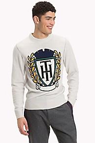 타미 힐피거 스웨터 Tommy Hilfiger Intarsia Crest Wool Sweater,SNOW WHITE HEATHER