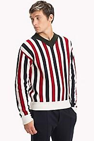 타미 힐피거 울 스트라이프 스웨터 Tommy Hilfiger Wool Stripe Sweater,SNOW WHITE