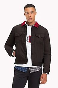 타미 힐피거 Tommy Hilfiger Lewis Hamilton Check Collar Denim Jacket,BLACK / RED
