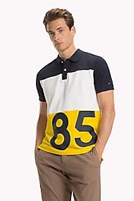 타미 힐피거 Tommy Hilfiger Pique Cotton 85 Polo,YELLOW/WHITE/NAVY