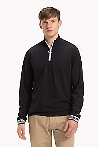 타미 힐피거 Tommy Hilfiger Long-Sleeve Zip Polo,JET BLACK