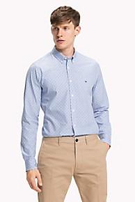 타미 힐피거 Tommy Hilfiger Poplin Print Shirt,SHIRT BLUE