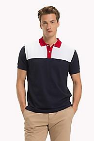 타미 힐피거 Tommy Hilfiger Pique Cotton Hilfiger Polo,NAVY/WHITE/RED